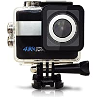 4K WIFI Sports Action Camera Ultra HD 20 MP Waterproof DV Camcorder +170 Degree Wide Angle+ HD Touch Screen+SJCam Mic & speaker+Car Dash Kit & Charger+ remote+ 21 Accessories+2 Batteries (Black)