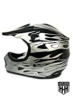 HHH DOT Youth & Kids Helmet for Dirtbike ATV Motocross MX Offroad Motorcyle Street bike Matte Black, Black Camo, Black Flame + WITH FREE GLOVES AND GOOGLES (Medium, Black Flame) by Hard Head Helmet