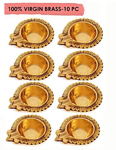 100% Pure Virgin Brass Kuber Diwali/Deepawali Diya Dia Pooja Oil Lamp -2.8 Inch.Tea Light Holder/Christmas Decoration.Traditional Puja Indian Gift Items.