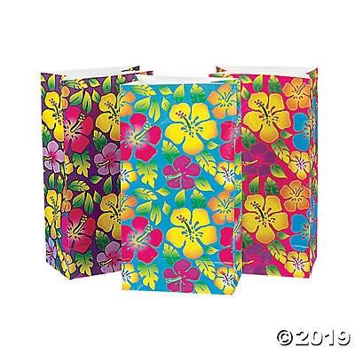 - 24 Tropical Hibiscus Treat Bags/Luau Bags/Hawaiian Party Supplies