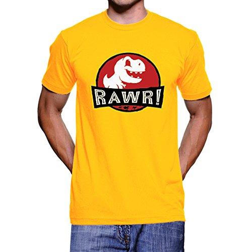Megaphone - Camiseta Raw Jurassic Park - Camiseta Hombre Manga Corta, Amarillo, Talla : XXL: Amazon.es: Ropa y accesorios