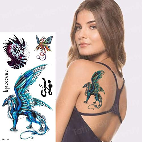 tzxdbh Etiqueta engomada del Tatuaje Temporal ala del dragón Sexy ...