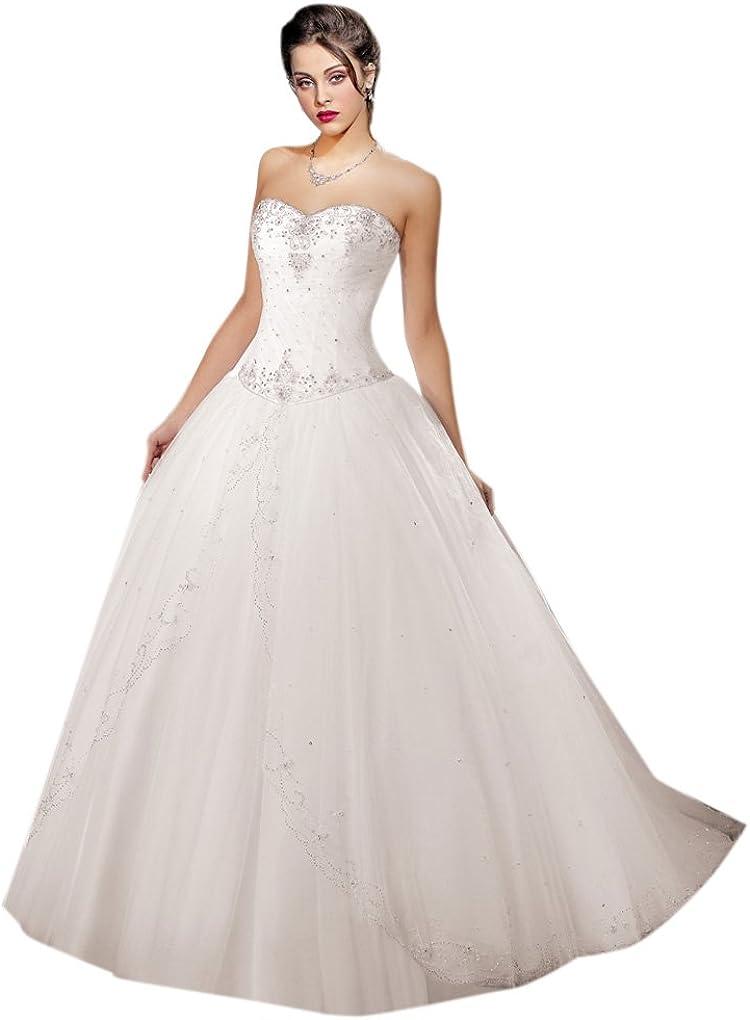 Dearta Womens Ball Gown Sweetheart Sweep//Brush Train Tulle Wedding Dresses