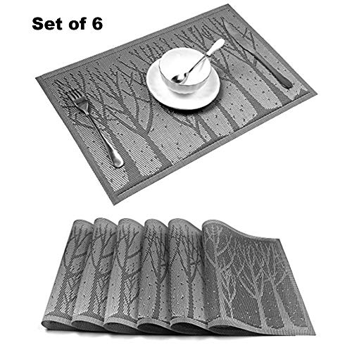 FURTHERNEXT Placemats, Durable Crossweave Woven Vinyl Non-Slip Insulation Washable Heatproof Place Mats Set of 6 for Dinning Table (Silver Tree)