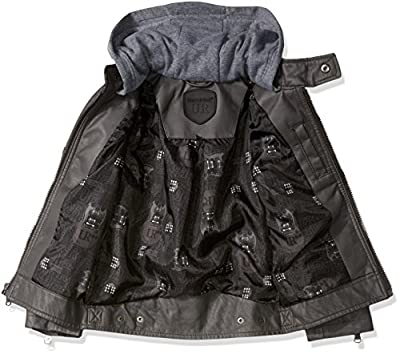 Urban Republic Boys' Faux Leather Jacket with Fleece Lined Hood