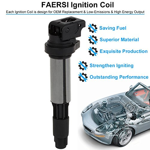FAERSI Ignition Coil Pack of 1 Replace OE# GN10328 for BMW 325i 325Ci 328i  330Ci 335i 525i 528i 545i 745Li X3 X5 M3 M5 M6 Mini Cooper & More - 2 Yr