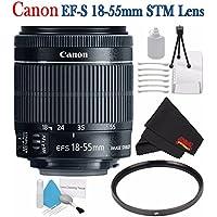 Canon EF-S 18-55mm f/3.5-5.6 IS STM Lens 8114B002 + 58mm UV Filter + Deluxe Starter Kit + Deluxe 3pc Lens Cleaning Kit Bundle