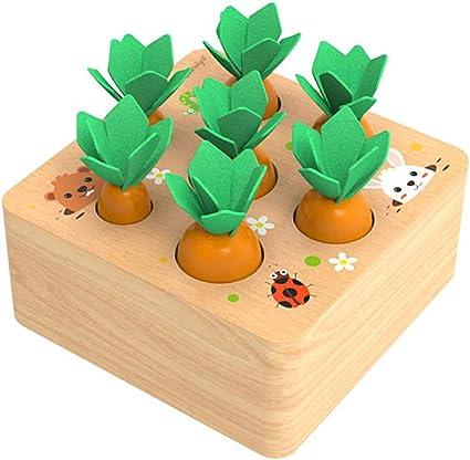 Habelyi Wooden Toys for Boys and Girls 1 2 3 Years Old Developmental Gifts Preschool Learning Fine Motor Skill Carrot Harvest Game Developmental Montessori Toys