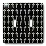 3dRose lsp_38574_2 Page of Crosses Three Dimensional Etched Metallic Christian Crosses Fill The Page Double Toggle Switch
