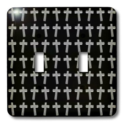3dRose lsp_38574_2 Page of Crosses Three Dimensional Etched Metallic Christian Crosses Fill The Page Double Toggle Switch by 3dRose