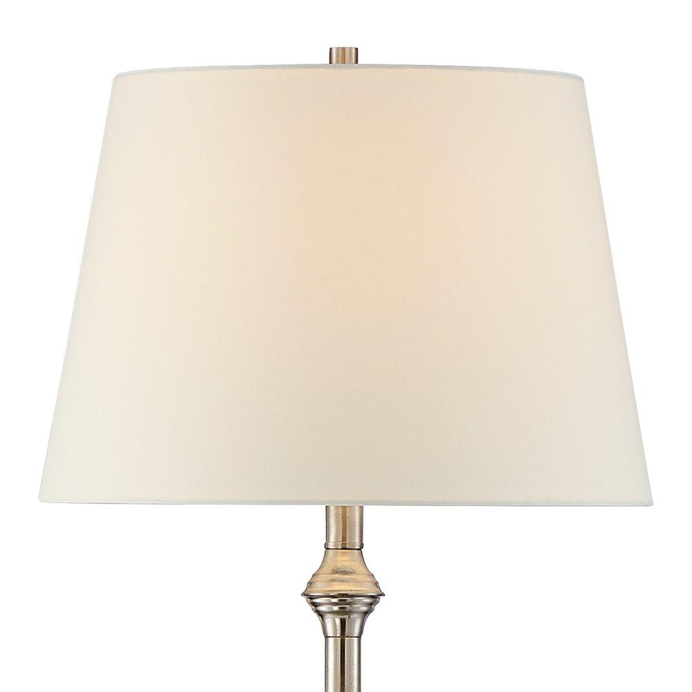 Dayton Satin Nickel Floor Lamp with Glass Tray Table