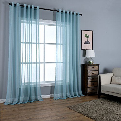 Dreaming Casa Solid Sheer Curtains Draperie Lake Blue Grommet Top Two Panels 52