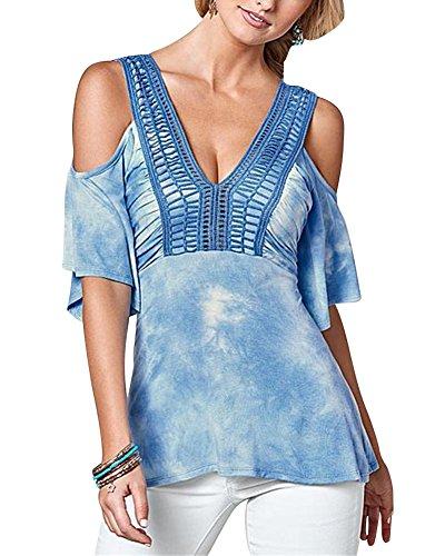 Las Mujeres De V-Cuello De Manga Corta Camisas De Hombro Frío Blusas Y Camisa Azul