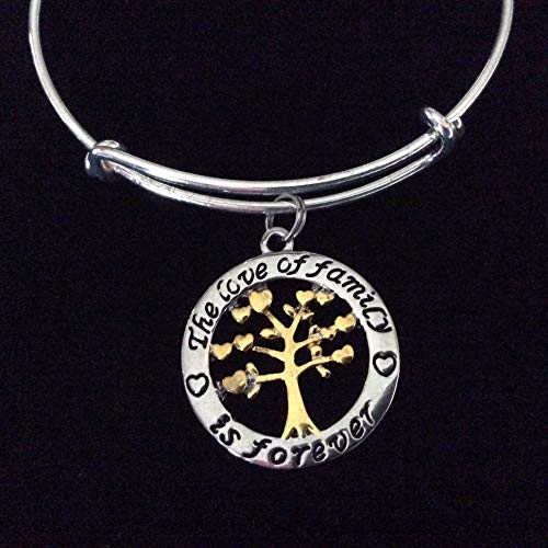 - The Love of Family is Forever Silver and Gold Expandable Charm Bracelet Tree of Life