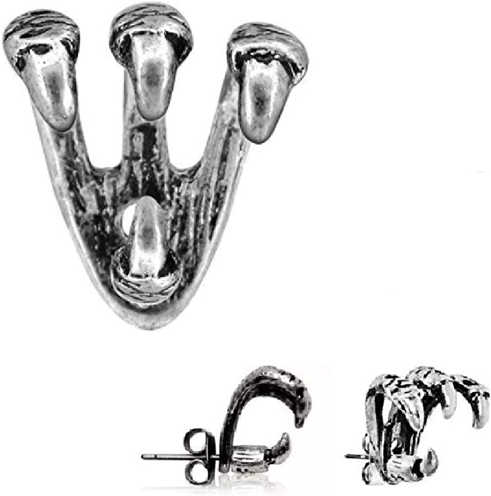 """""""Trident Triple"""" Claw Cartilage Earring 316L Stainless Steel (Sold as Pair)"""