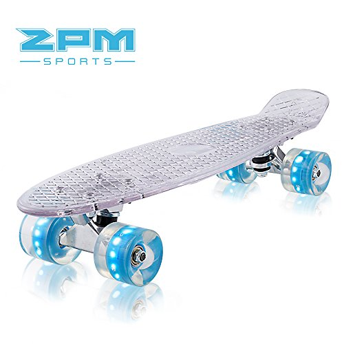 2pm Sports Paco Complete 22 inch Mini Cruiser Skateboards – Clear Small Banana Board with Glow Light up Wheels for Kids Boys Girls – Blue Wheels