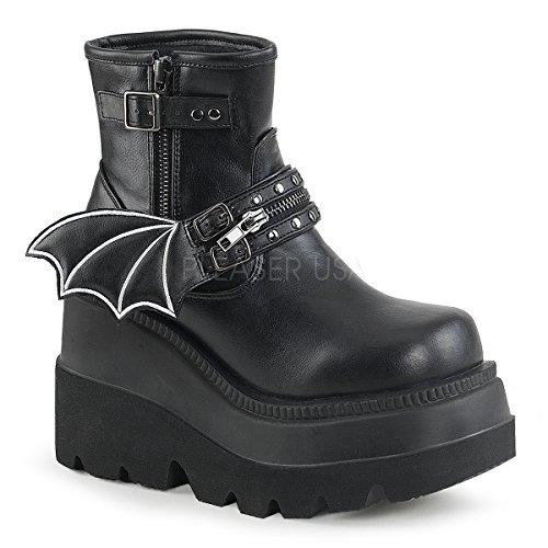 Demonia Women's Shaker-55 Ankle Boot, Black Vegan Leather, 7 M US by Demonia