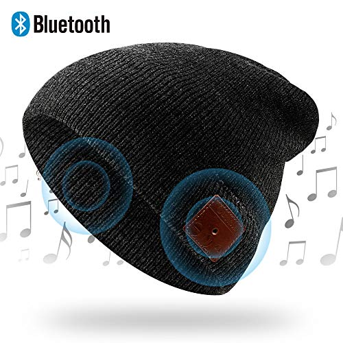 NICEWELL Wireless Bluetooth Beanie Musical Hat Bulit in Headphones and Speakers, Unique for Teenagers and Unisex Adult (Black)