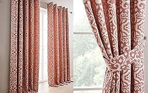 """Tejido con forro de Damasco rojo y crema 45""""x 72anillo superior cortinas y abrazaderas"""