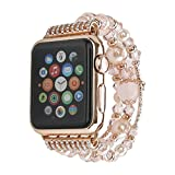 Apple Watch Band,iWatch Band 38mm,GEMEK Fashion Pearl Natural Stone Bracelet Replacement iWatch Strap Band For 38mm apple watch band women Girls,apple watch Series 3 Series 2 Series1(Pink 38mm)
