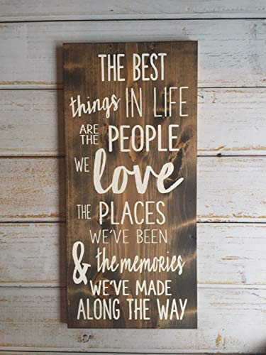 Burkewrusk The Best Things in Life are The People We Love Hand Painted Typography Sign