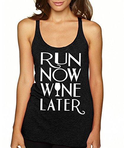 SignatureTshirts Women's Run Now Wine Later Racerback Tank Top S Black