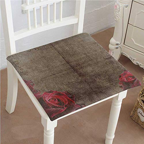 Mikihome Premium Chair Cushion Ative with Roses Ornamental Frame Nostalgic Style Red Brown Comfort Memory PadCushions - Assorted Colors 18