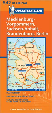 Michelin Germany Northeast - Mecklenburg-Vorpommern, Sachsen-Anhalf, Brandenburg, Berlin Map No. 542 (French Edition)