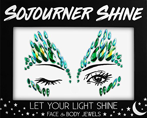 Face Jewels Glitter Gems Rhinestones - Eye Body Jewels Gems | Rhinestone Stickers | Body Glitter Festival Rave & Party Accessories by SoJourner (Forest Fairy)]()