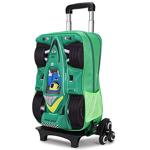 Green Wheeled Backpacks (Deer Mum Children Boy's Car Pattern wheeled Travel Rolling backpack (Green))
