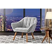 Accent Chair for Living Room, Linen Arm Chair with Tufted Detailing and Natural Wooden Legs (Light Grey)