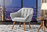 Swivel Chairs for Living Room Accent Chair Living Room, Linen Arm Chair Tufted Detailing Natural Wooden Legs (Light Grey)