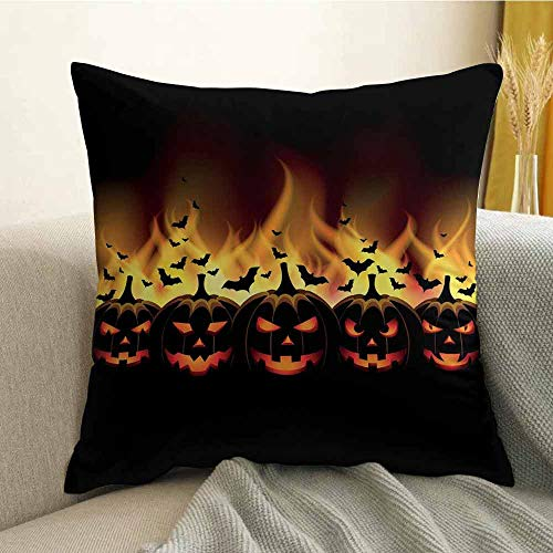 Vintage Halloween Bedding Soft Pillowcase Happy Halloween Image with Jack o Lanterns on Fire with Bats Holiday Hypoallergenic Pillowcase W24 x L24 Inch Black Scarlet -