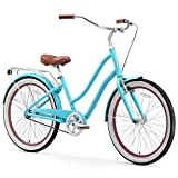 sixthreezero EVRYjourney Women's Single-Speed Step-Through Hybrid Cruiser Bicycle, Teal w/ Brown Seat/Grips