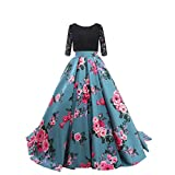 Engerla Women's A-line 3/4 Sleeves Lace Printing Flower Floral Long Party Dress