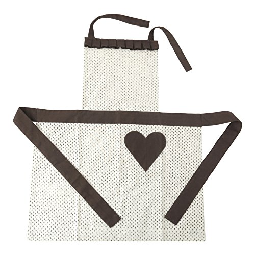Hallmark Home Cotton Apron with Pocket, Cream Patterned Full Length with Dark Brown Straps, Box Pleat Ruffle, and Heart Shaped - Conversation Personalized Hearts