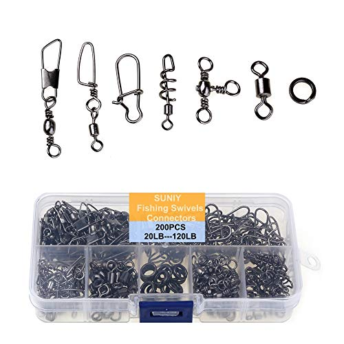 200PCS Fishing Swivels Connectors with 5 Types of High Strength Stainless Steel Fishing Barrel Swivels & Duo Lock Snaps & Double Split Rings Swivel Fish Line Connector 20LB to 120LB with Portable Box