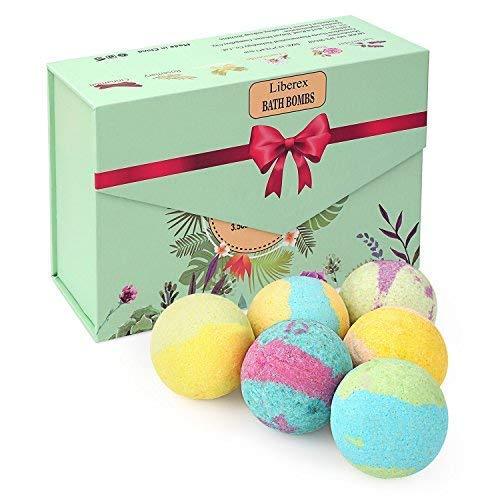 Liberex Bath Bombs Kit - Bomb Cosmetics with Organic Natural Essential Oils, Relax and Moisturize Dry skin, Gift set for Her, Mum, Women and Girls, 6 Scents x 100g