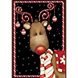 Toland - Candy Cane Reindeer - Decorative Rudolph Winter Christmas Holiday USA-Produced House Flag