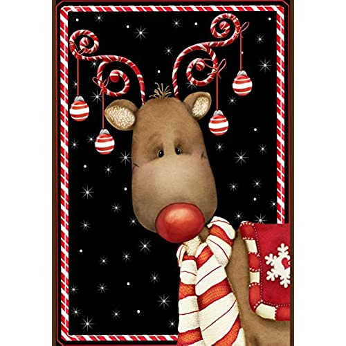 toland home garden candy cane reindeer 28 x 40 inch decorative winter christmas holiday ornament house flag - Outdoor Deer Christmas Decorations