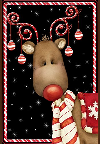 Toland Home Garden Candy Cane Reindeer 12.5 x 18 Inch Decorative Winter Christmas Holiday Ornament Garden Flag