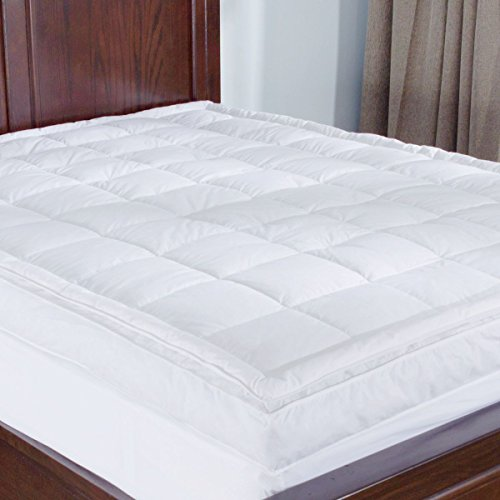 puredown Premium Goose Down Mattress Pad Bed Topper, 75% Feather/25% Down White, Queen Size - Feather Mattress