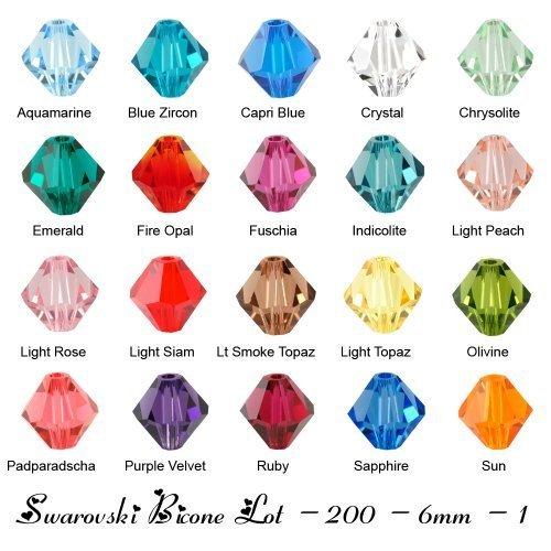Olivine Swarovski Crystal Bicone Bead - Wholesale Lot 200 bicone 6MM #5328 Swarovski Crystal Beads 20 colors (1)