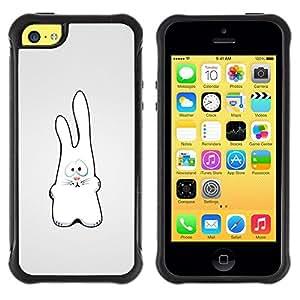"Pulsar iFace Series Tpu silicona Carcasa Funda Case para Apple iPhone 5C , Conejo blanco Figura Arte Dibujo Orejas grandes"""