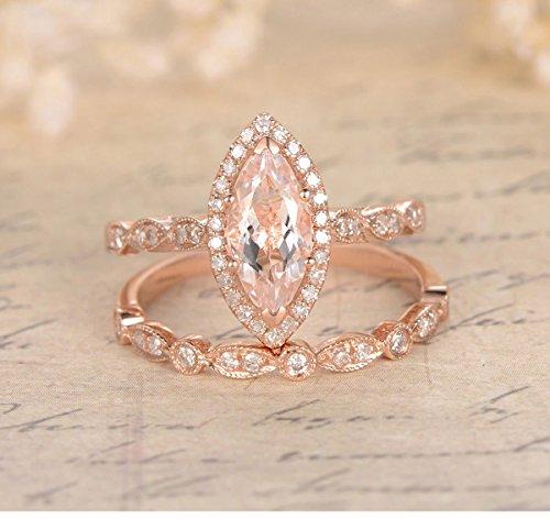 Marquise Morganite Engagement Ring Bridal Set Pave Diamond Wedding 14K Rose Gold 5x8mm