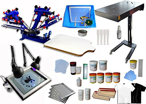 4 Color 1 Station Screen Printing Press Kit Screen Printing Machine with Flash Dryer Material KIt