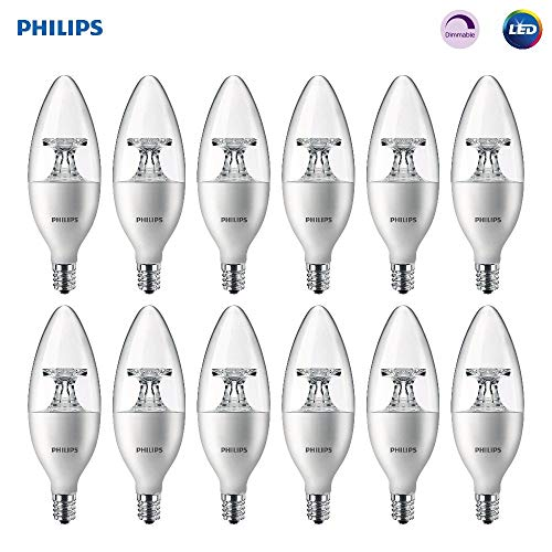 (Philips LED Dimmable B11 Clear Candle Light Bulb: 300-Lumen, 2700-Kelvin, 4.5-Watt (40-Watt Equivalent), E12 Base, Soft White, 12-Pack (Renewed))