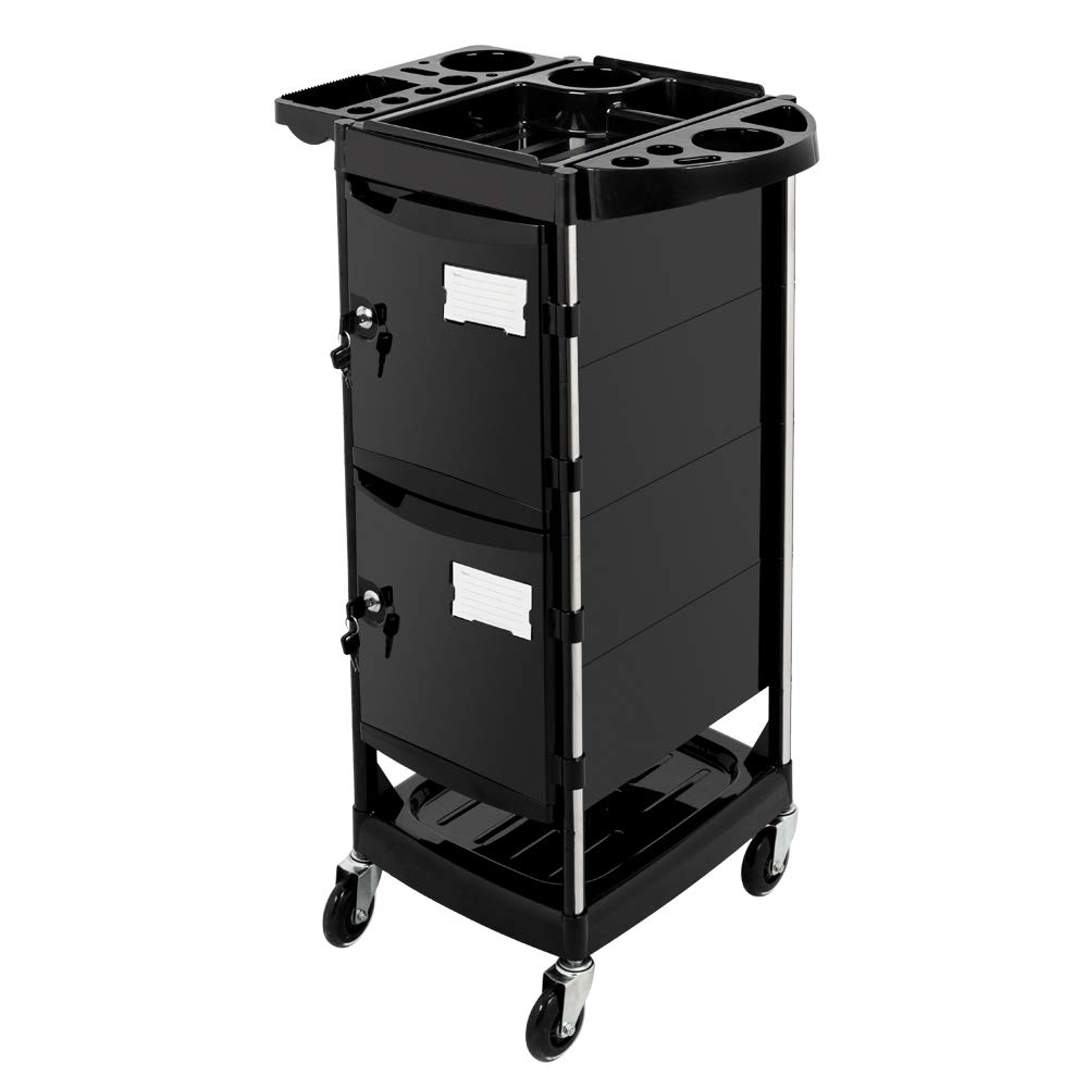 Mefeir Salon trolley with 2 Lock 4 Keys, 4 ABS Drawers, Rolling Wheels for Hair Styling, Lockable Beauty Furniture Hairdressing Cabinet Storage Cart Coloring Station