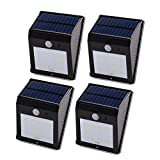 Qedertek Solar Motion Sensor Light, 12 LED Waterproof Outdoor Security Wall Light Lighting for Garden, Patio, Home, Fence, Driveway and Pathway, 4PCS
