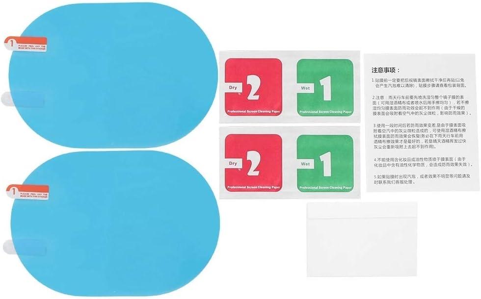 Tarente Car Rearview Mirror Rain Protective Film Anti-Fog Rainproof Sticker 100x145mm Oval Blue